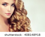 blondel girl with long wavy... | Shutterstock . vector #408148918