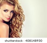 blondel girl with long wavy... | Shutterstock . vector #408148930