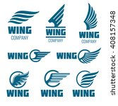 abstract wings vector logo set... | Shutterstock .eps vector #408157348