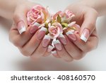 delicate french manicure with a ... | Shutterstock . vector #408160570