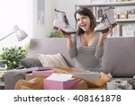 cheerful young woman at home... | Shutterstock . vector #408161878