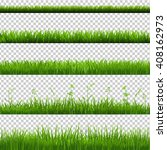 green grass borders big set ... | Shutterstock . vector #408162973