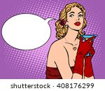 beautiful woman in red with a... | Shutterstock .eps vector #408176299