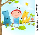 funny animals and boy friends... | Shutterstock .eps vector #408179779