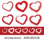 painted heart shapes. set of 6... | Shutterstock .eps vector #408180328