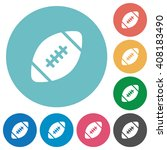 flat rugby ball icon set on...