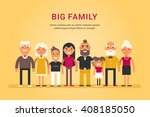 big happy family. parents with... | Shutterstock .eps vector #408185050