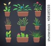 house plants  flowers in pots.... | Shutterstock .eps vector #408185233
