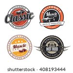set of classic muscle car... | Shutterstock . vector #408193444