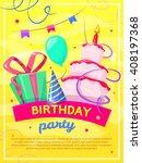 birthday concept design poster  ... | Shutterstock .eps vector #408197368