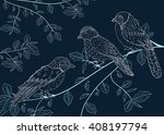 birds sitting on a branch  dark ... | Shutterstock .eps vector #408197794
