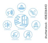 pvc production vector icons set | Shutterstock .eps vector #408206443