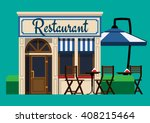 The facade of the restaurant in a flat style | Shutterstock vector #408215464