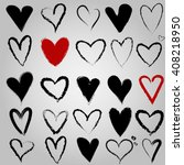 ink hand drawn hearts.... | Shutterstock .eps vector #408218950