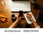 girl works remotely at her... | Shutterstock . vector #408224560