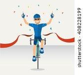 cyclists winner biking road... | Shutterstock .eps vector #408228199