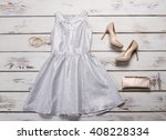 Silver Dress With Beige Shoes....