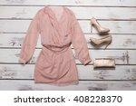 peach dress and red heels.... | Shutterstock . vector #408228370