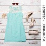 blue dress and heel shoes.... | Shutterstock . vector #408228394