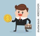 businessman holds in hand money ... | Shutterstock .eps vector #408231424