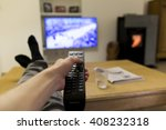 watching tv with the feet on... | Shutterstock . vector #408232318