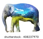 the elephant on white... | Shutterstock . vector #408237970