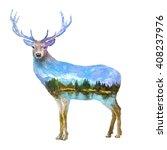 the deer on white background... | Shutterstock . vector #408237976