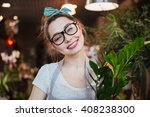 portrait of cheerful pretty... | Shutterstock . vector #408238300