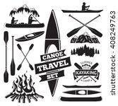 set of canoe and kayak design... | Shutterstock .eps vector #408249763