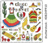 mexico cinco de mayo doodle... | Shutterstock .eps vector #408249910