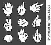 Cartoon Hands Gesture Set On...