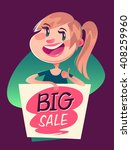 girl with a big sale banner.... | Shutterstock .eps vector #408259960
