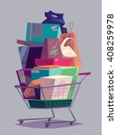 big full shopping cart. vector... | Shutterstock .eps vector #408259978