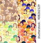 set faces of women  girls... | Shutterstock .eps vector #408262129