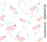 Flamingo  Blue  Bubbles And...