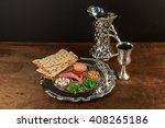 pesach matzo passover with wine ... | Shutterstock . vector #408265186