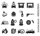 car wash  car care icons set  ...