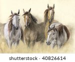 Pastel Drawing Of Herd Horses