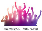 silhouettes of happy people on... | Shutterstock .eps vector #408276193