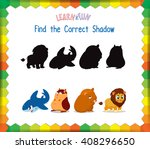 find the correct animals shadow | Shutterstock .eps vector #408296650
