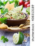 homemade guacamole sauce and... | Shutterstock . vector #408313189