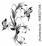 floral ornament with... | Shutterstock . vector #408327148