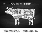 cut of meat set. poster butcher ... | Shutterstock .eps vector #408330016