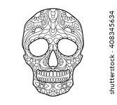 human skull coloring book for... | Shutterstock . vector #408345634