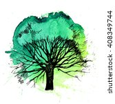 hand drawn tree silhouette on... | Shutterstock .eps vector #408349744