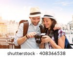 view of a young couple on... | Shutterstock . vector #408366538