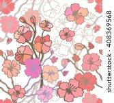cherry blossom in spring garden.... | Shutterstock .eps vector #408369568
