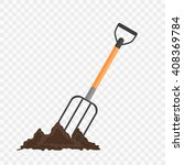 pitchfork in the ground.... | Shutterstock .eps vector #408369784