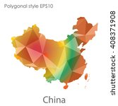 china map in geometric... | Shutterstock .eps vector #408371908