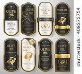 elegant premium olive oil labels set collection over pearl white  | Shutterstock vector #408372754